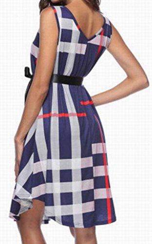 Dress Blue Womens Neck Vingtage Line Sleeveless Plaid Midi Belt With Domple V A 7CRZqwwzx