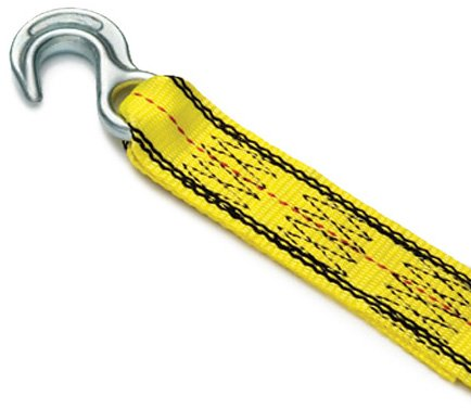 15' Drop Flat - Progrip 141 Light Duty Tow Recovery Strap Flat Webbing Hooks: Yellow, 15' x 2