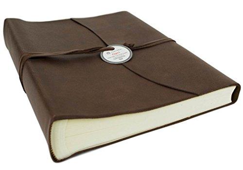 Capri Large Chocolate Handmade Italian Leather Wrap Photo Album, Classic Style Pages (30cm x 24cm x 6cm) by LEATHERKIND