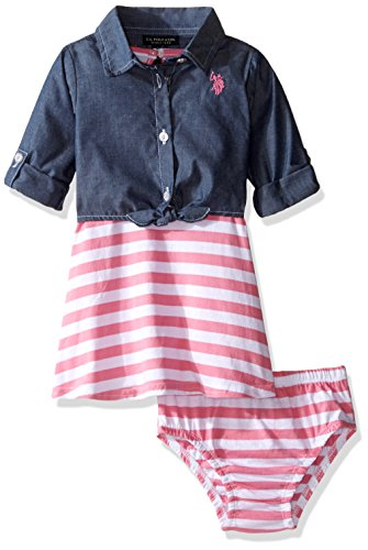 U.S. Polo Assn. Baby Girls' Striped Knit Skater Dress with Chambray Shirt-Jack