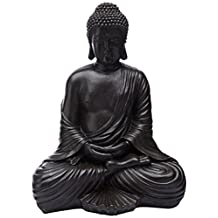 Oriental Furniture Extra Large Substantial Powerful Art Sculptures, 18-Inch Tall Black Resin Japanese Design Sitting Buddha Statue Figure