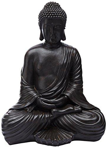 Oriental Furniture, impresionantes esculturas de arte, extra grandes, de 17 pulgadas, estatua de Buda sentado en diseño...