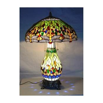 Tiffany Style Green Dragonfly Table Lamp   Lighted Base