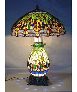 Tiffany Style Green Dragonfly Table Lamp - Lighted (Tiffany Style Green)