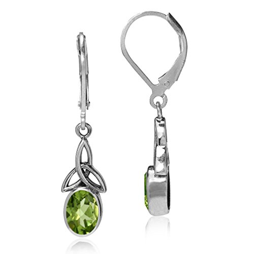 1.58ct. Natural Peridot 925 Sterling Silver Triquetra Celtic Knot Leverback Earrings (Knot Peridot Celtic)