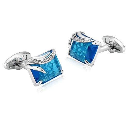 AmDxD Jewelry Stainless Steel Cufflinks for Men Rectangle Silver Blue Cuff Links - Oroton Glasses