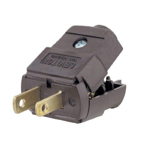Leviton 101-P 15 Amp, 125V, NEMA 1-15P, 2P, 2W, Plug, Straight Blade, Residential Grade, Polarized, Non-Grounding (10 Pack), Brown - Residential Straight Blade