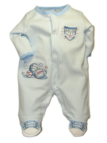 Sports Footed Sleeper (Baby / Infant Boys Sports Footed Sleeper by Little Me - Blue - Preemie)