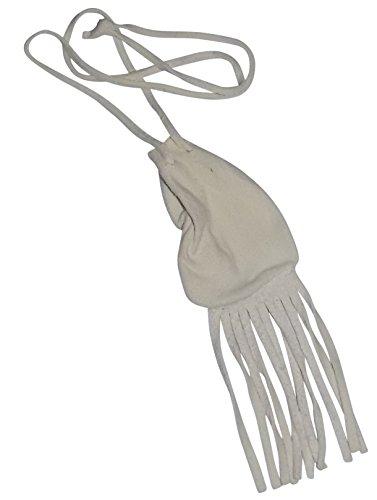 - Traditional Real American Deerskin Medicine Bag (4 inch white buckskin fringe bag)