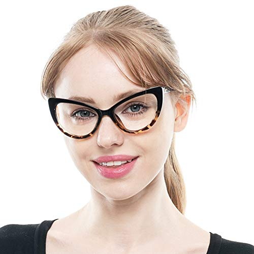 SOOLALA Womens Oversized Fashion Cat Eye Eyeglasses Frame Large Reading Glasses, Leopard, ClearLens
