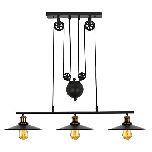 T&A 3-Light Kitchen Island Pulley Pendant Light with Black Metal Finish review
