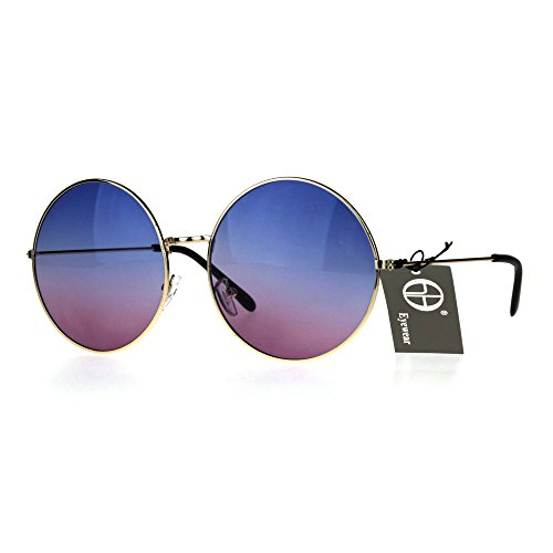 Classic Oversize Joplin Style Hippie Round Circle Lens Sunglasses Gold Blue - Sunglasses Women Round