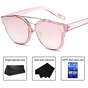 GAMT Fashion Twin-Beams Classic Sunglasses for women and men Unisex Brand Designer Glasses Powder and gold