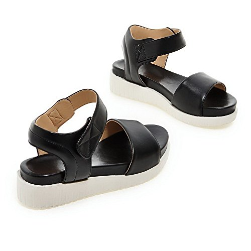 AgooLar Mujeres Plataforma Puntera Abierta Sólido Velcro Sandalia Negro