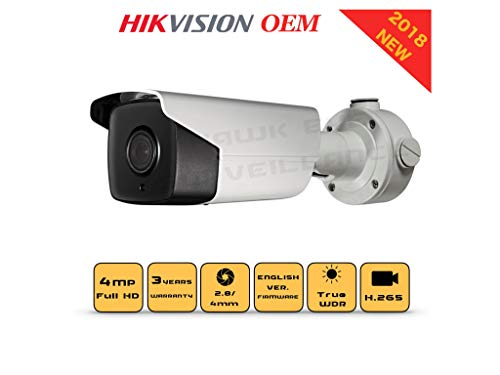 4MP PoE Security IP Camera – Compatible as Hikvision DS-2CD2T42WD-I5 EXIR Bullet,Indoor and Outdoor, 4mm Fixed Lens English Version 3 Year Warranty