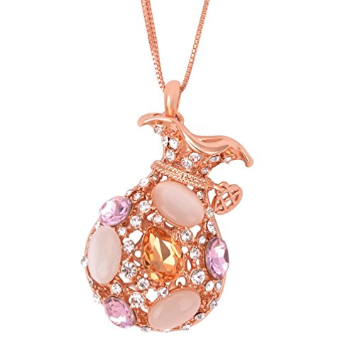 Price comparison product image The Starry Night Bright Lucky Bag Dazzing Opal Gold Plated 42 Deluxe Diamonds Accented Crystal Cut 18k Necklace