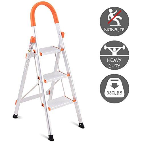 Giantex Non-slip 3 Step Aluminum Ladder Folding Platform Stool 330 lbs Load (Three Step Ladder)
