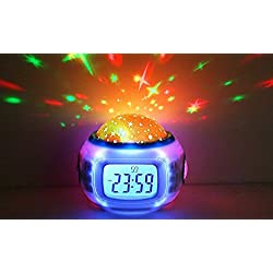 Children Room Star Projecting Night Light Musical Alarm Clock With Thermometer