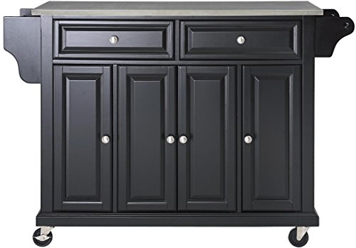 Crosley Furniture Rolling Kitchen Island with Stainless Steel Top - Black