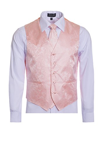 Men's Premium Paisley Vest Neck Tie Pocket Square Set Paisley Vest for Suits and Tuxedos-Many Colors (Small, Peach) ()