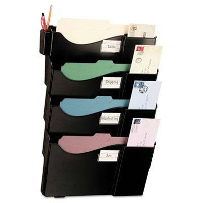 Officemate - Wall Filing System Four Pockets 16 5/8'' X 4 3/4'' X 23 1/4'' Plastic Black ''Product Category: File Folders Portable & Storage Box Files/File Sorters''
