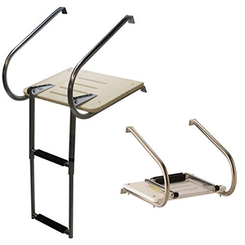 Platform Transom - 2 Step Platform Boat Ladder Outboard Transom Ladder Inboard Outboard Swim Platform Fiberglass Ladder Under Mount Telescopic (2 Step Platform Outboard Transom Boat Ladder)