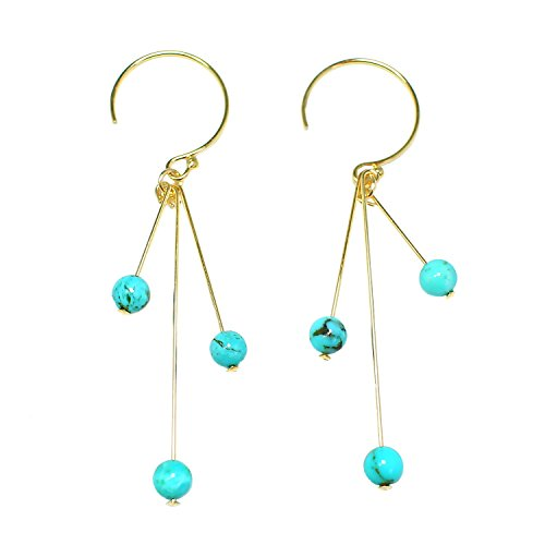 STELLA HANDMADE JEWELRY 14-kt Gold-Filled Brass Stick Earrings with Turquoise Beads