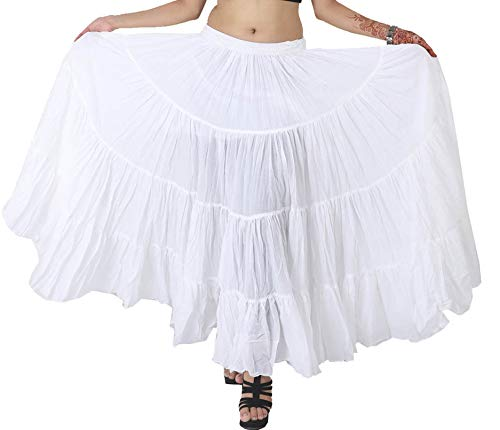 Wevez Women's Belly Dance Cotton 12 Yard Skirt, One Size, White