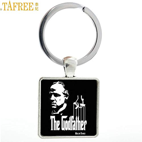 Key Chains - New Arrival Vintage The Godfather Square Keychain Fashion Gangster Movie Cool Men Key Chain Ring Holder Jewelry Mens Gifts MV54 - by Mct12-1 PCs]()
