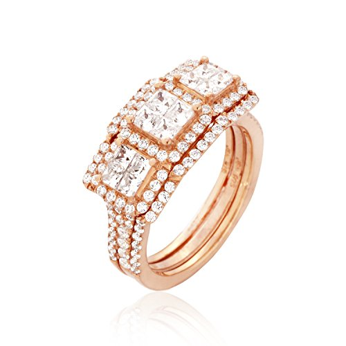 Women Diamonds Ring.Round & Princess Diamonds (G-H Color), Invisible Setting, 14K Gold (rose-gold, 6)