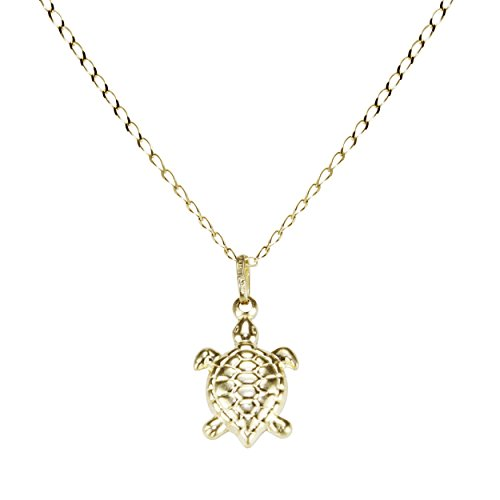 14k Yellow Gold Turtle Pendant Necklace Animal Nature Design Patience 16