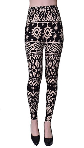 VIV Collection Regular Size Printed Brushed Ultra Soft Leggings (Pattern Diamond) ()