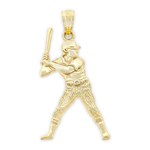 (Charm America - Gold Baseball Player/Batter Charm - 10 Karat Solid Gold)
