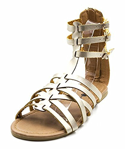 (Charles Albert Free Reign Women's Back Zip Buckle Gladiator Strappy Vegan Leather Sandal (Wide Width) (10W, Royal)