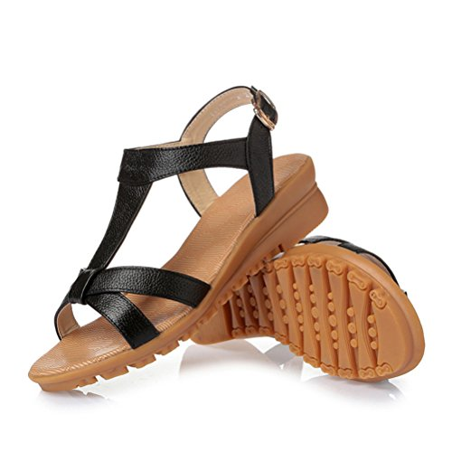 Always Pretty Womens Summer Sandals Wedge Heel Sandal Gladiator Summer Shoes For Women Black 9Fuugpv