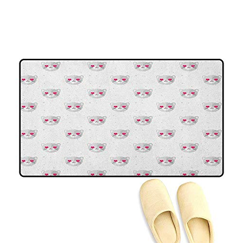 Emoji Door Mat Outside Cat Faces with Pink Heart Shaped Eyes Romantic Animal Kitty Mascot in Love Size:24