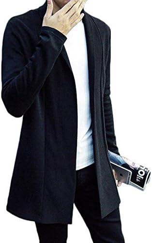 スリム ロング カーディガン メンズ カジュアル 無地 トレンチコート 黒 ニット チェスターコート 大人 ビジネス 通勤
