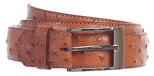 GIFT_Men's Premium Handmade Genuine Ostrich Leather Belt_MULTI COLORS (34, Cognac) by 8 Moon