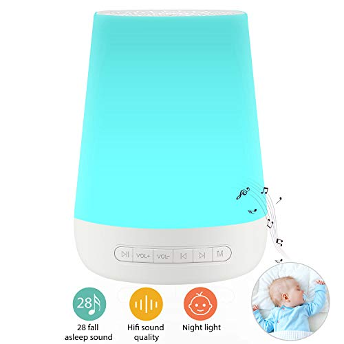 White Noise Machine for Sleeping - VanSmaGo Sleep Sound Machine & Night Light for Baby Kid Adult,Rechargeable Battery,28 HiFi Soothing Sound,32 Volume Control,Timer and Memory,Portable Sleep Therapy