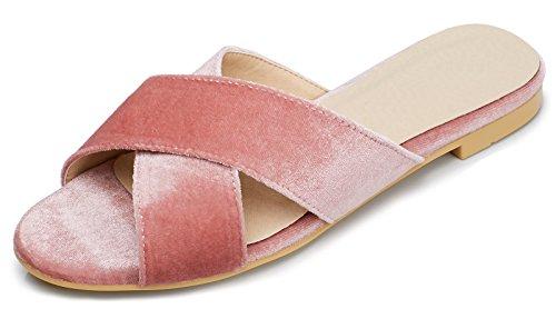 LizForm Women Open Toe Casual Flat Pumps CrissCross Strappy Shoes Dress Slipper Sandal Pink