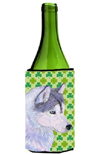 siberian-husky-st-patricks-day-shamrock-portrait-wine-bottle-beverage-insulator-beverage-insulator-h