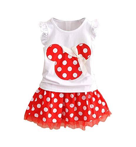 Baby Girls Polka Dot Dress Tulle Tutu Skirt Bowknot Ruffled Sleeve T-Shirt Tunic Skirt Two-Piece Set Size 1T/90cm Red (Polka Dot Tunic Outfit)