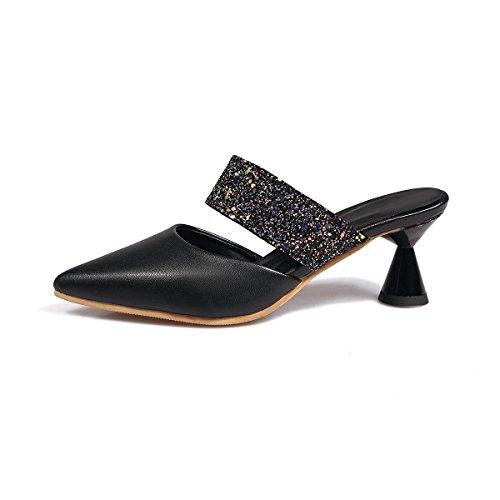 d'épaisseur Flop Black Fashion Sandales Paillettes avec Femmes Fait Flip wXEEUxRa