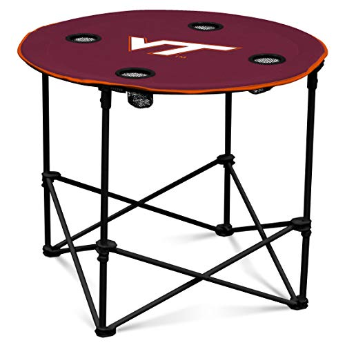 (VA Tech Hokies Collapsible Round Table with 4 Cup Holders and Carry)