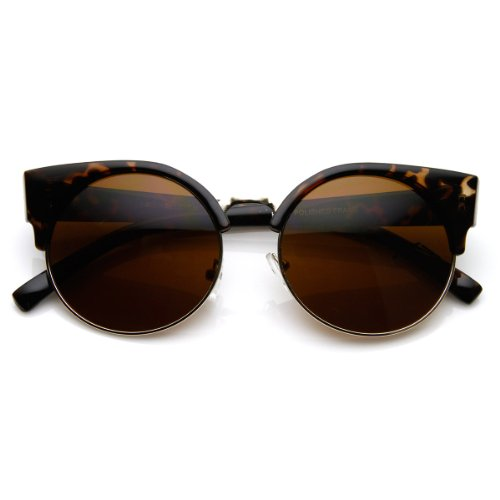 zeroUV - Round Circle Half Frame Semi-Rimless Cateye Sunglasses (Tortoise) (Half Frame Tortoise Plastic)
