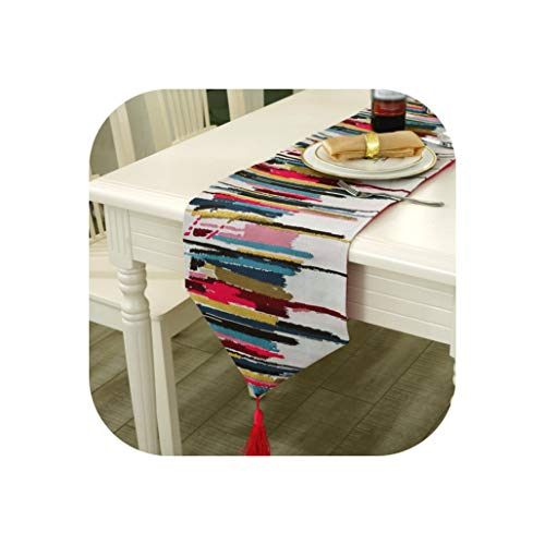 New Modern Simple Colorful Stripes Embroidered Table Runner Daily Decor Or Wedding Linen Tablecloth for Hotel & Bar Banquet,30X180CM,Red -