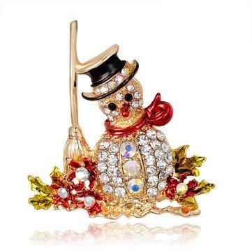 Festival Gifts & Party Supplies Christmas Sale - Christmas snowman Santa Claus Fashion Bridal Bouquet Flower Pattern Brooch Pin Rhinestone Inlaid Crystal Women Wedding Brooche