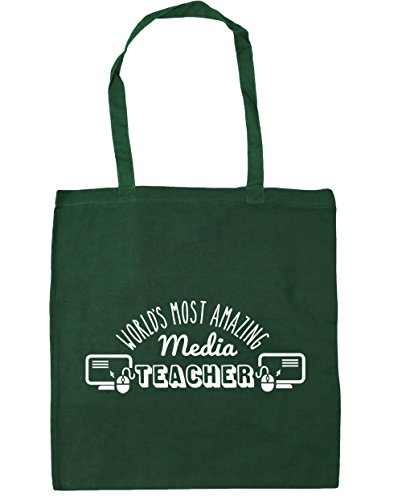 HippoWarehouse más sorprendente del mundo medios de comunicación profesor bolsa de la compra bolsa de playa 42cm x38cm, 10litros verde oscuro