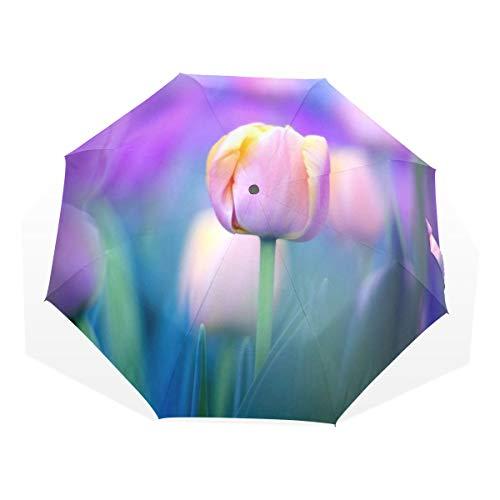 Tulip Frame Chrome (SUABO Umbrella Tulips Purple Windproof Travel Umbrella Compact Folding Umbrella)