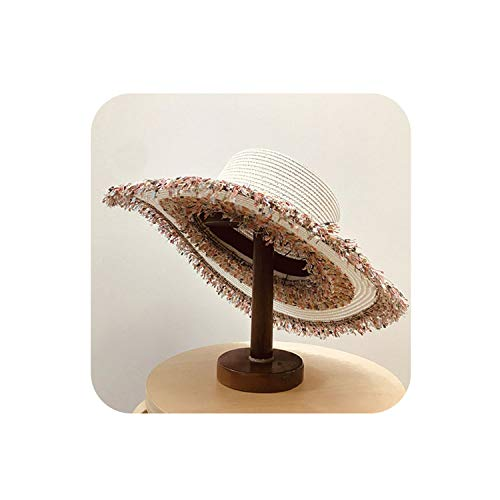 Patchwork Leisure Lady Straw Sun Hat Women Paper Holiday Cap Wholesale,White,Head Size 57Cm ()